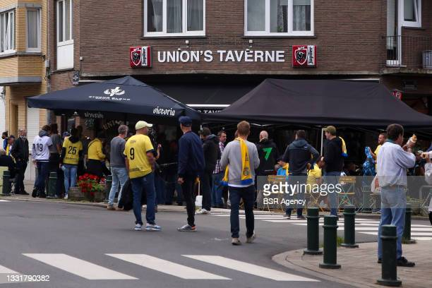 View of a local pub during the Jupiler Pro League match between Union Saint Gilloise and Club Brugge at Joseph Marien Stadion on August 1, 2021 in...