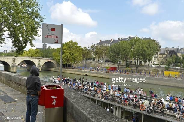A view of a local public urinal on Ile Saint Louis along the river Seine on August 14 2018 in Paris France The ecofriendly Uritrottoir public urinals...