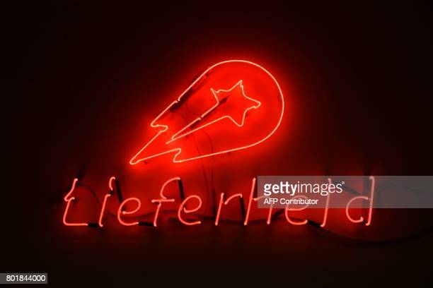 A view of a logo in an office of the global headquarters of online food ordering and delivery giant Delivery Hero is pictured in Berlin on June 27...