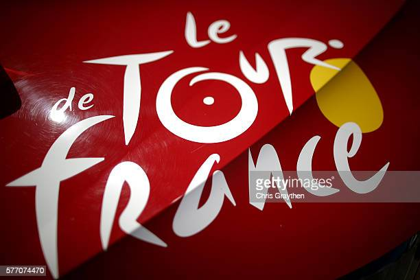 A view of a logo on a car prior to stage 16 of the 2016 Le Tour de France a 209km stage from MoiransEnMontagne to Berne at on July 18 2016 in Berne...