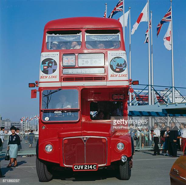 View of a London Transport Routemaster bus carrying visitors between exhibition halls hosting the British Exhibition Tokyo 1965 event at the Harumi...