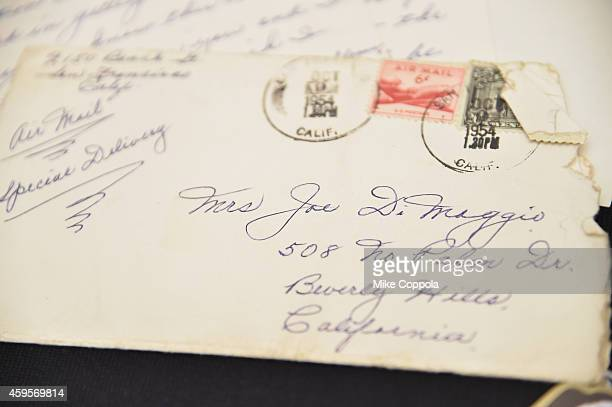 A view of a love letter written by Marilyn Monroe's exhusband Joe Dimaggio as part of the Lost Archives of Marilyn Monroe at The Ross Art Group on...