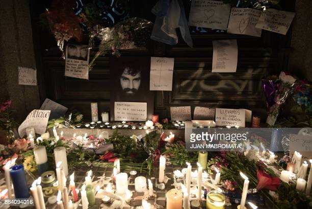 View of a makeshift altar set up at the entrance of the judicial morgue where the corpse of Santiago Maldonado disappeared on August 1st during a...