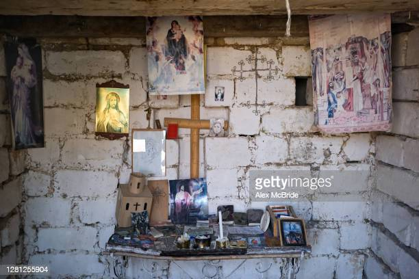 View of a make-shift chapel on an Armenian frontline position on October 20, 2020 near Aghdam, Nagorno-Karabakh. As the war over control of...