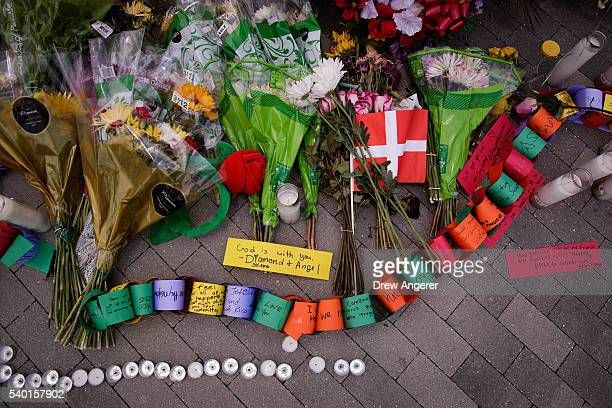 A view of a makeshift memorial for the victims of the Pulse Nightclub near Orlando Regional Medical Center June 14 2016 in Orlando Florida The...