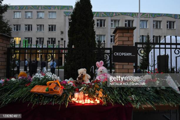 View of a makeshift memorial for victims of the shooting at School No. 175 in Kazan on May 11, 2021. - At least nine people, most of them children,...
