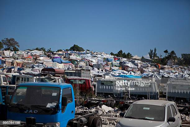 A view of a makeshift tent city camp in PortauPrince Haiti on January 27 2010 The January 12 earthquake that hit Haiti killed about 170000 people and...