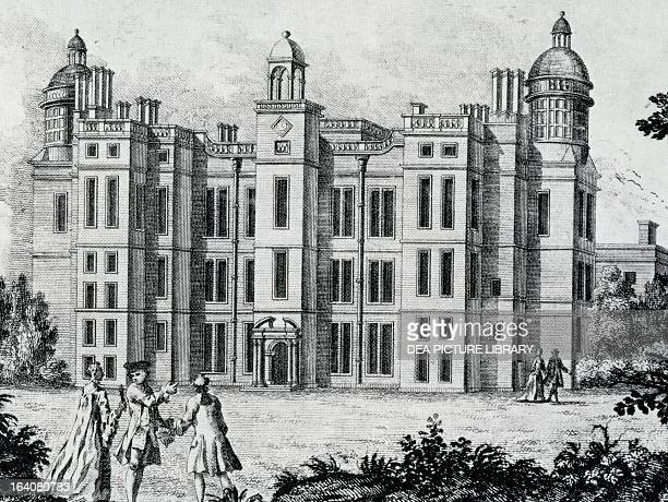 View of a Manor workshop in Nottinghamshire where King James VI of Scotland and I of England were received during their descent into London engraving...