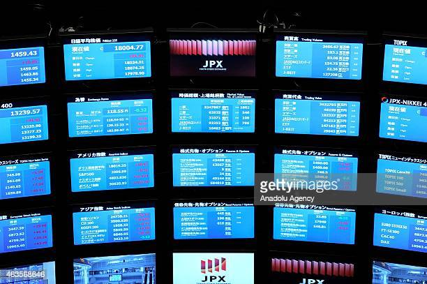 View of a market board in the market center supervision of Tokyo Stock Exchange in Tokyo Japan on February 16 2015 Japan's economy emerges from...