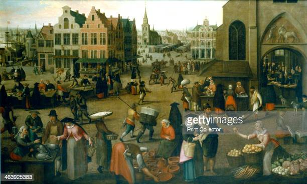 'View of a market place' c15701603 A scene in a busy market in a port town somewhere in the Low countries