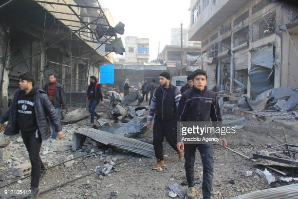 A view of a marketplace is seen after an airstrike in the deescalation zone of Eriha district of Idlib Syria on January 30 2018 It is reported that 7...