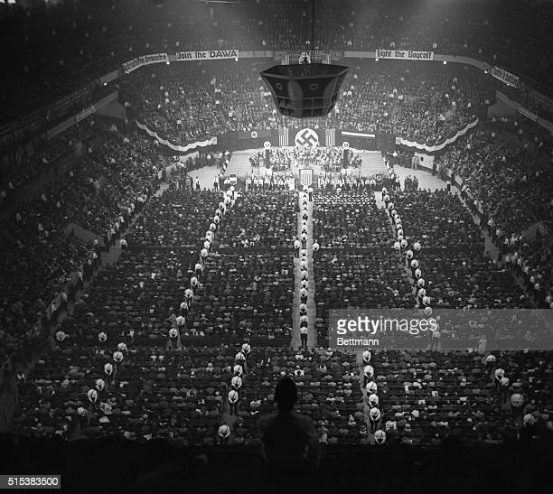 View of a mass meeting of 20000 members of the League of the Friends of the New Germany which was held in New York's Madison Square Garden