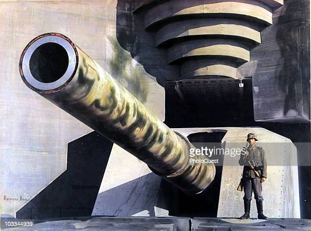 View of a massive piece of German coastal artillery in a concrete casement on the Atlantic Wall France early 1940s
