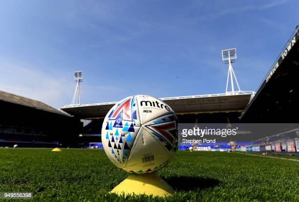 A view of a match ball ahead of the Sky Bet Championship match between Ipswich Town and Aston Villa at Portman Road on April 21 2018 in Ipswich...