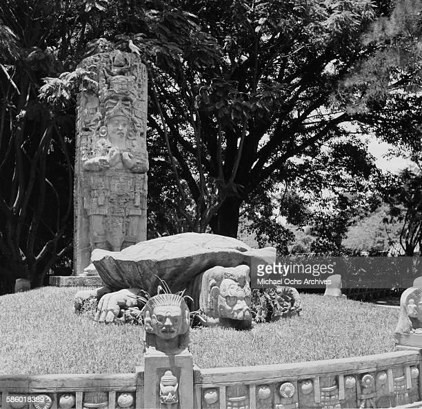 A view of a Mayan sculpture garden in La Concordia Park in Tegucigalpa Honduras