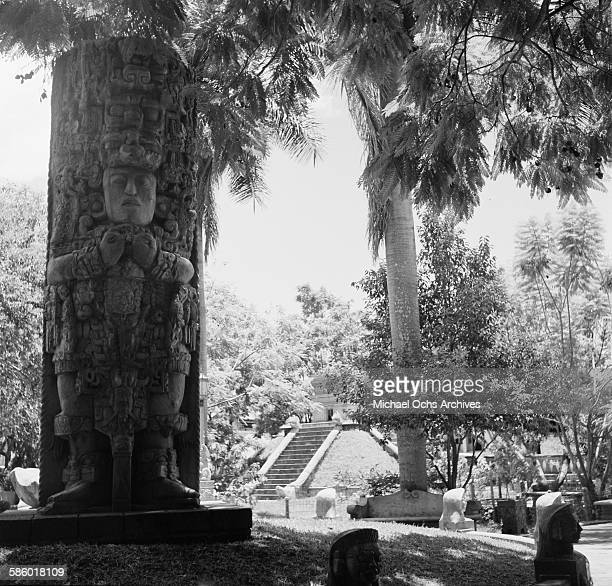A view of a Mayan statue in La Concordia Park in Tegucigalpa Honduras