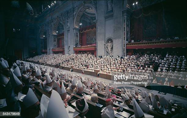 View of a meeting of bishops and observers during the Second Vatican Council or 21st ecumenical council of the Catholic Church inside St Peter's...