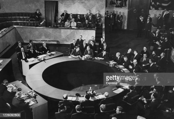 A view of a meeting of Foreign Ministers of the 'Big Four' powers the UK US France and the Soviet Union in the Council Chamber at the Palace of...