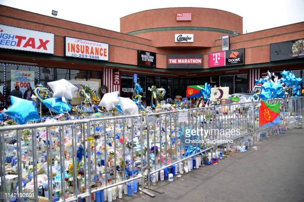 A view of a memorial at The Marathon Clothing Store during Nipsey Hussle's Celebration of Life and Funeral Procession on April 11 2019 in Los Angeles...