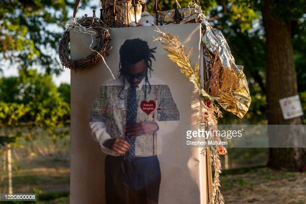View of a memorial site for Philando Castile on June 17, 2020 in Falcon Heights, Minnesota. Castile was shot and killed at this site during a traffic...