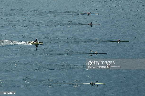 A view of a Men's Single Sculls quater final during day four of the FISA Rowing World Championships at Lake Bled on August 31 2011 in Bled Slovenia