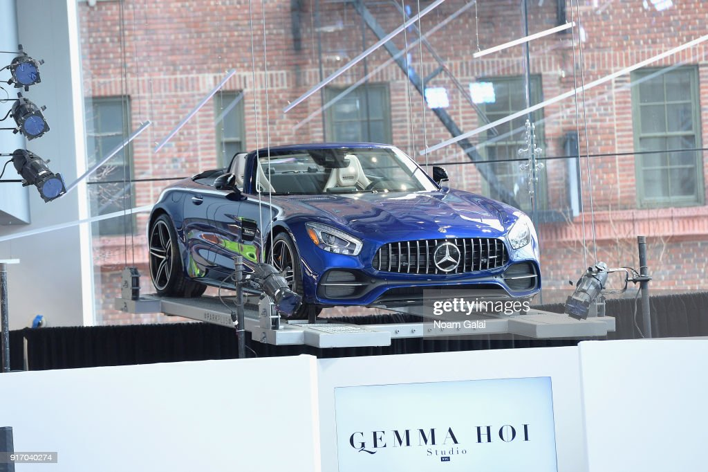 A View Of A MercedesBenz Above The Runway For Gemma Hoi During New York  Fashion Week