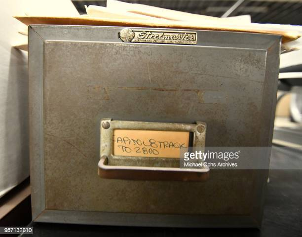 A view of a metal box that reads Steelmaster Capitol 8 Track in the Michael Ochs Archives on May 10 2018 in Los Angeles California
