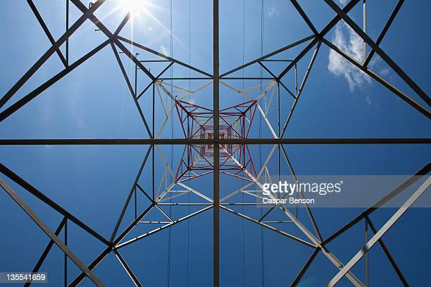 View of a metal tower from directly below
