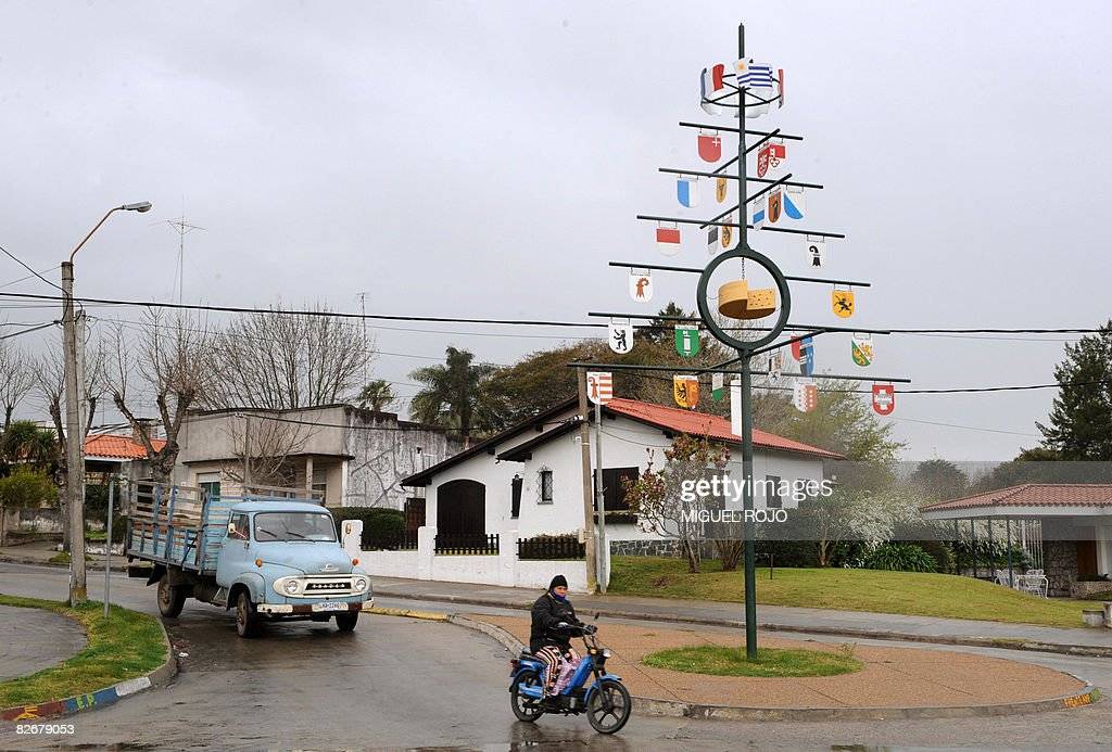 View of a metal tree displaying the Swis : News Photo