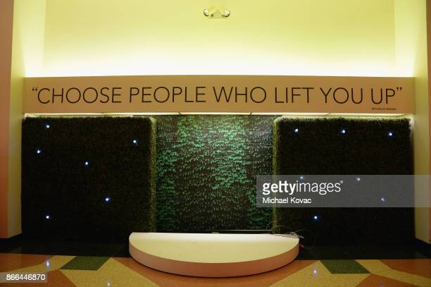 View of a Michelle Obama quote is seen during The Streicker Center hosts a Special Evening with Former First Lady Michelle Obama at The Streicker...