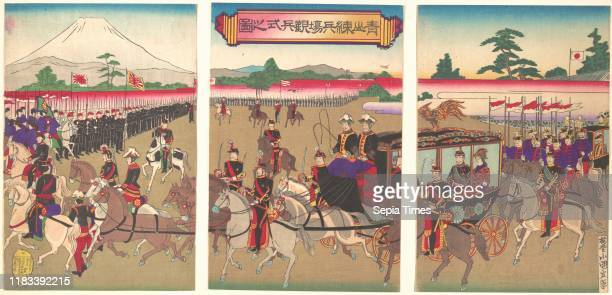 View of a Military Review Parade at Aoyama Meiji period Feb 1889 Japan One sheet of a triptych of polychrome woodblock prints ink and color on paper...