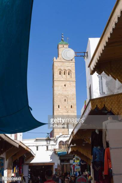 view of a minaret from the souk of rabat's medina - morocco - pjphoto69 foto e immagini stock