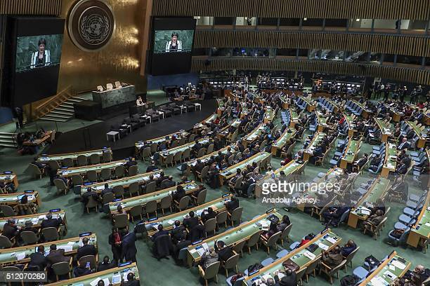 A view of a ministerial meeting at the UN headquarters marking the 50th anniversary of the UN Development Program in New York on February 24 2016