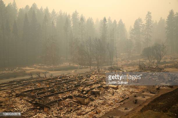 A view of a mobile home park that was destroyed by the Camp Fire on November 10 2018 in Paradise California Fueled by high winds and low humidity the...