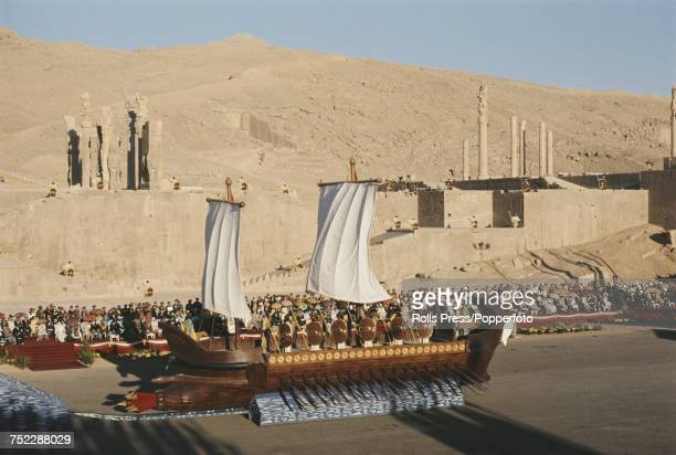 View of a mock up of a Persian warship taking part in a parade during celebrations to commemorate the 2500th anniversary of the Persian Empire amid...