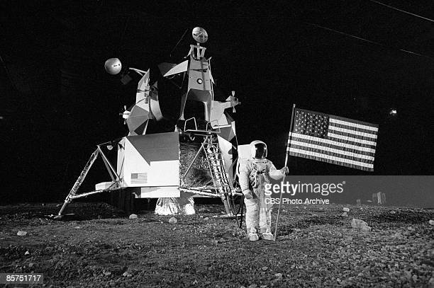 View of a mockup model of the Apollo 11 lunar landing module and an astronaut at Grumman Aircraft Engineering Corporation the main company contracted...