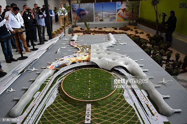 View of a mockup of the new airport of Mexico City in Texcoco Mexico State on October 25 2016 / AFP / PEDRO PARDO