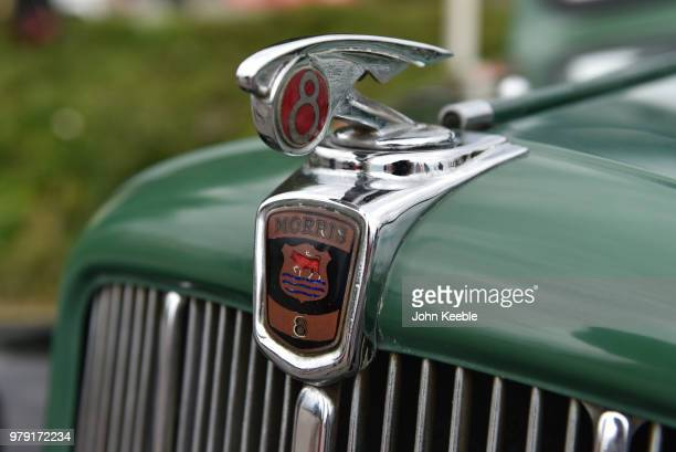 A view of a Morris 8 car bonnet chrome badge emblem on display during the Southend Classic Car Show along the seafront on June 17 2018 in Southend on...