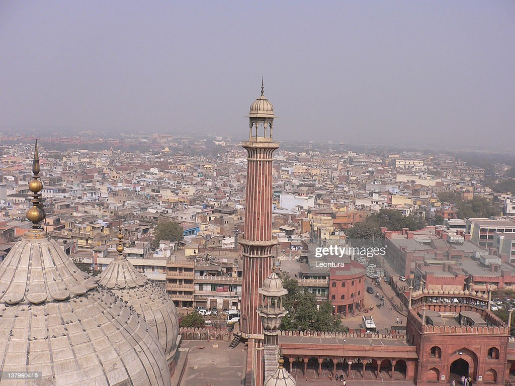 View of a Mosque (Jama Masjid) and Delhi : Stock Photo