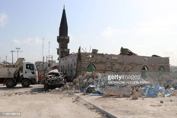 A view of a mosque damaged following a car bomb in the vicinity of the Somali parliament in Mogadishu on June 15 2019 A car bomb exploded near the...