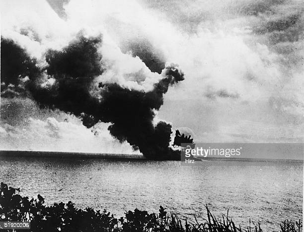 View of a mostly underwater volcanic eruption on the island of Anak Krakatau Indonesia late 1920s