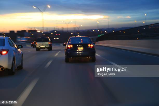 View of a moving car on a busy highway