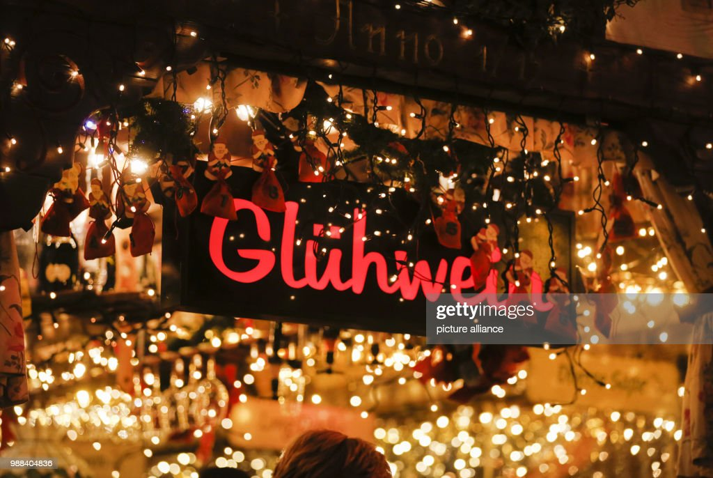 Mulled Wine Christmas Market.View Of A Mulled Wine Stand At The Christmas Market In