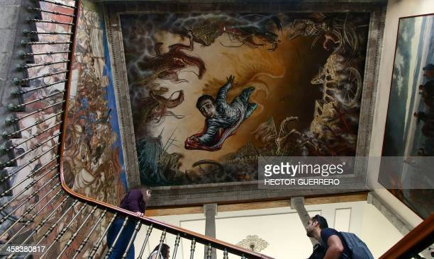 View of a mural by Mexican painter Gabriel Flores Garcia on the ceiling above a staircase of the Castillo de Chapultepec in Mexico City on July 2...