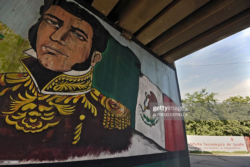 View of a mural of Mexican revolutionary leader Vicente Guerrero in Iguala de la Independencia, Guerrero State, Mexico on September 9, 2015. Next September 26th marks the first anniversary of the disappearance of 43 students in Iguala, when police attacked busloads of college students allegedly under the orders of its mayor, and handed them over to a gang. According to sources consulted by AFP, buses in Iguala sometimes transport drugs hidden in egg boxes, a situation which independent investigators believe could have motivated the disappearance of 43 students.