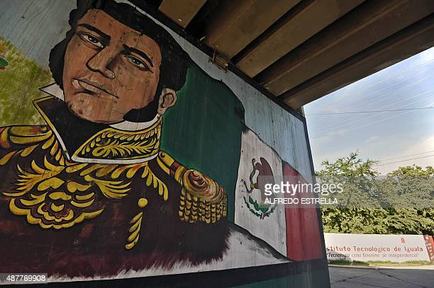 View of a mural of Mexican revolutionary leader Vicente Guerrero in Iguala de la Independencia, Guerrero State, Mexico on September 9, 2015. Next...