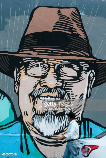 View of a mural painted by artists in memory of Mexican journalist Javier Valdez in Monterrey Mexico on May 19 2017 'The other festival' project aims...