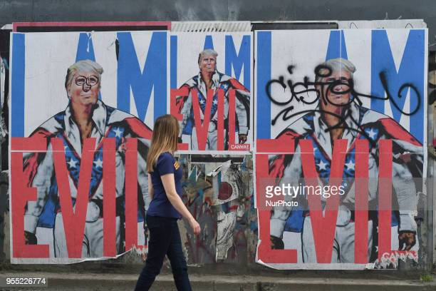 A view of a mural with 'I am Evil' Donald Trump images in Dublin Grand Canal area On Saturday May 5 in Dublin Ireland