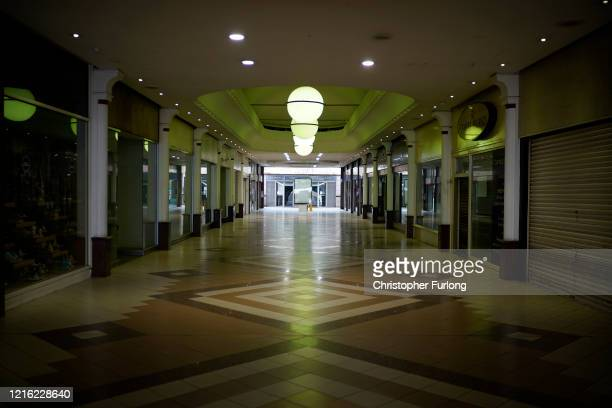 A view of a near deserted Stockport town centre during the pandemic lockdown and the closure of shops restaurants and businesses on April 01 2020 in...