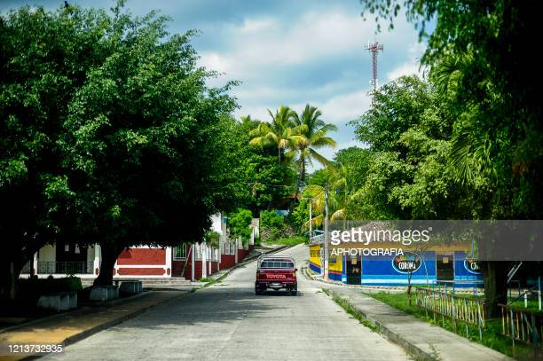 View of a nearly empty main road in the town of El Rosario during government issued lockdown on May 18 2020 in Cuscatlan El Salvador The Supreme...